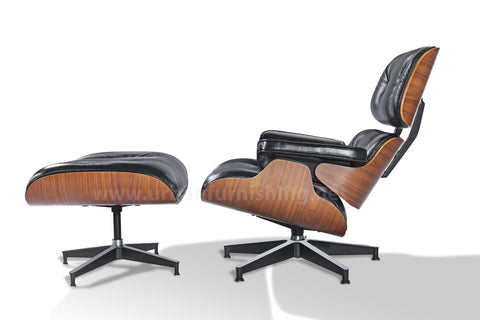 Mid-Century Plywood Lounge Chair and Ottoman - Ultra Premium Version,  Black/Walnut (Back-Order, ETA: 2/15/20)
