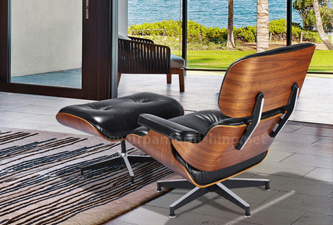 Mid-Century Plywood Lounge Chair and Ottoman - Ultra Premium Version,  Black/Walnut (Back-Order, ETA: 12/18/19)