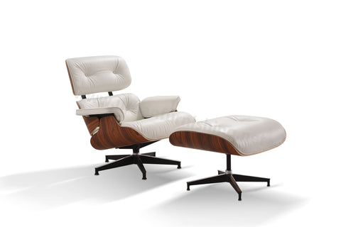 Mid-Century Plywood Lounge Chair and Ottoman - Ultra Premium Version, Ivory/Palisander (BACKORDER, ETA: 8/15/20)