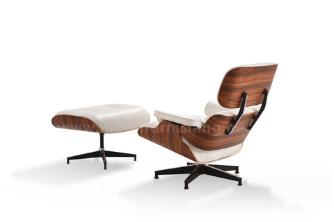 Mid-Century Plywood Lounge Chair and Ottoman - Ultra Premium Version, Ivory/Palisander **Back-order, ETA 8/15/19**