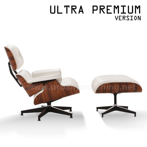 Mid-Century Plywood Lounge Chair and Ottoman - Ultra Premium Version, Ivory/Palisander