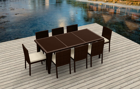9 Piece Wicker Outdoor Patio Dining Set - Brown Wicker / Beige
