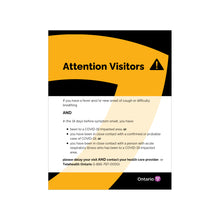 Load image into Gallery viewer, Ministry of Health Ontario - Official Health Care Setting Visitor Sign