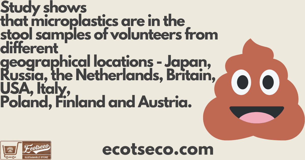 Study shows that microplastics are in the stool samples of volunteers from different geographical locations - Japan, Russia, the Netherlands, Britain, USA, Italy, Poland, Finland and Austria. ecotseco.com