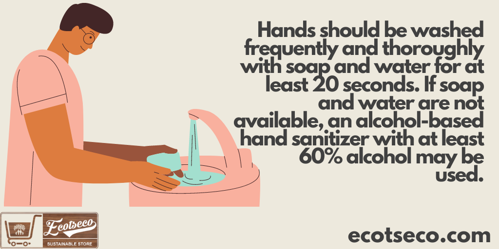 Hands should be washed frequently and thoroughly with soap and water for at least 20 seconds. If soap and water are not available, an alcohol-based hand sanitizer with at least 60% alcohol may be used.