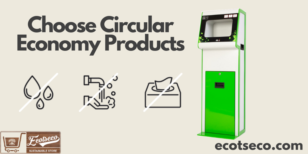 Choose Circular Economy Products like ecotseco's automatic stand alone hand sanitiser dispenser
