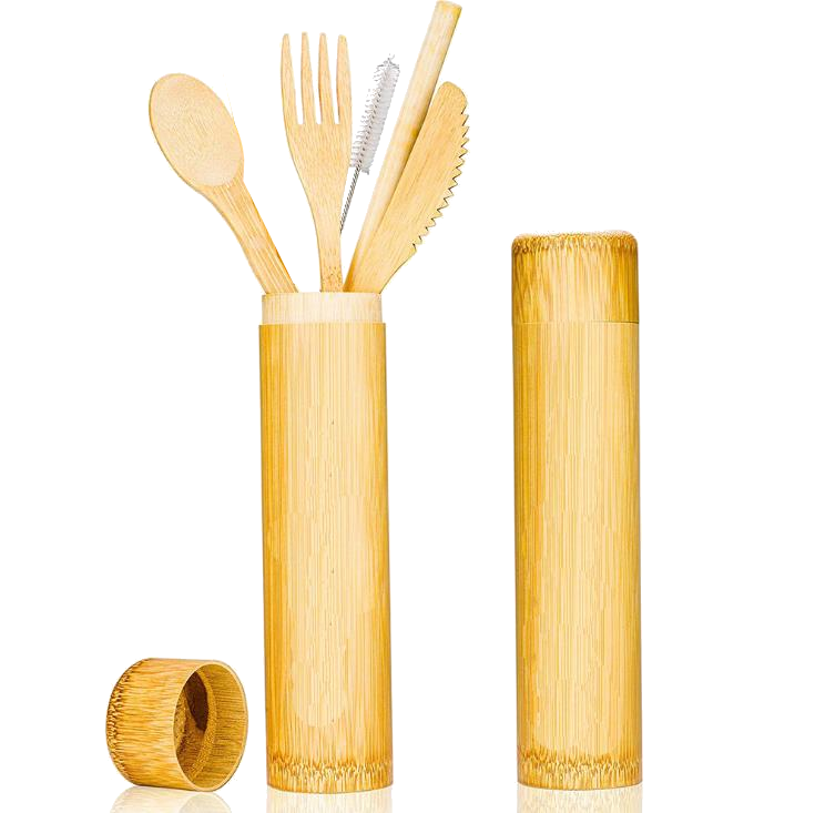 eco-friendly bamboo wooden reusable cutlery box set Social distance utensils
