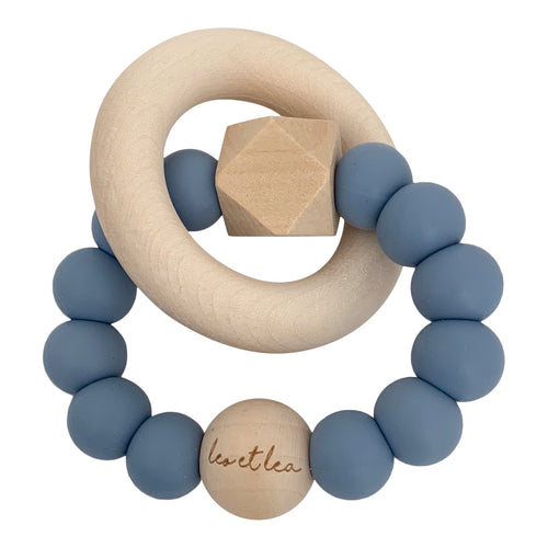 Hexa Baby Teether, Dusty Blue, Océane Collection