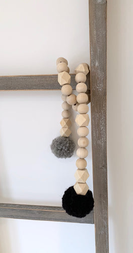 PomPom Girlande, Black/Grey
