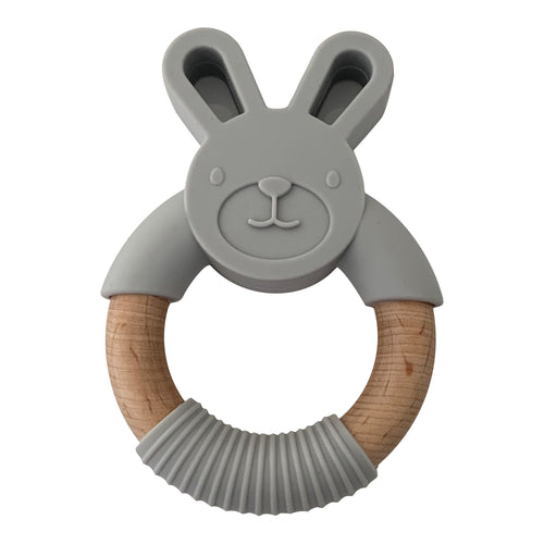 Rabbit Teether, Light Grey