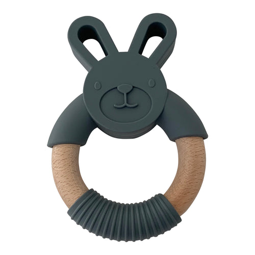 Rabbit Teether, Dark Grey