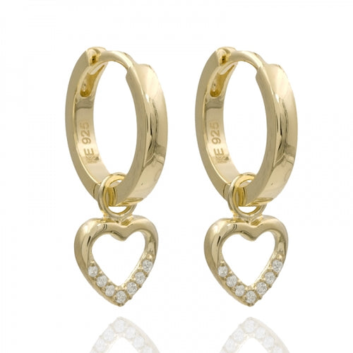 Hoops, Creolen, Heart, Zirconia, gold