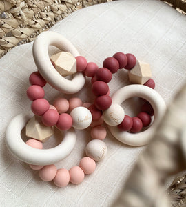 Hexa Baby Teether, Dusty Rose