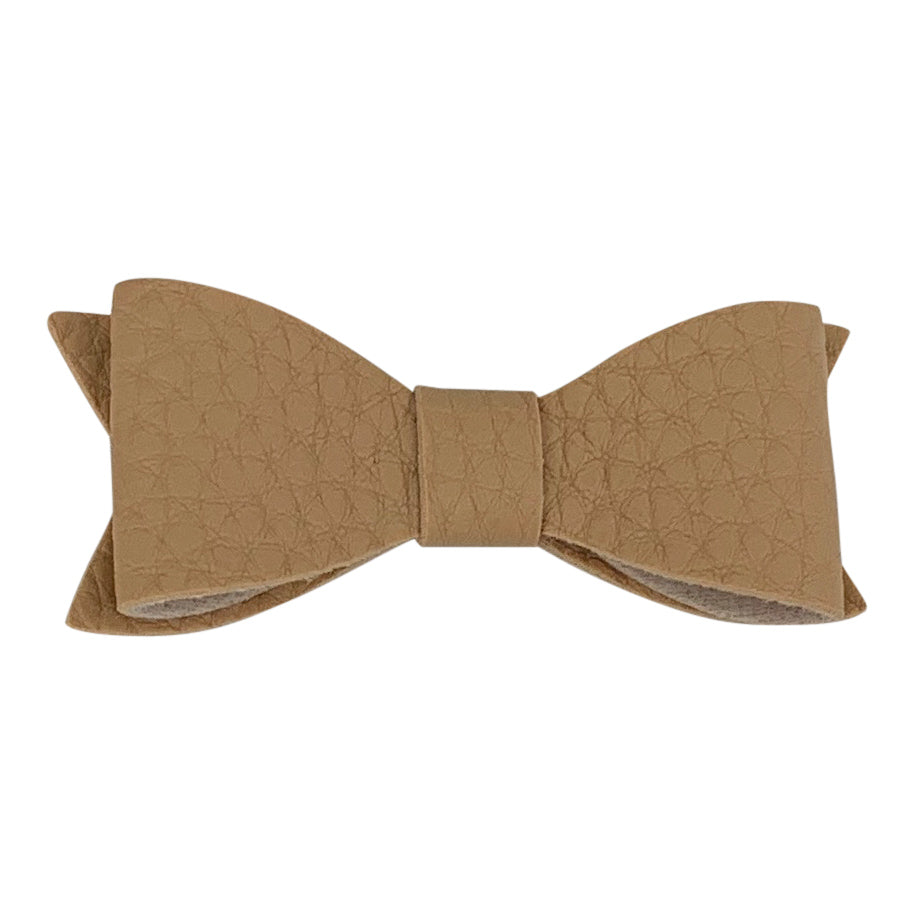 Hairclip, Vegan Leather Bow, Creme