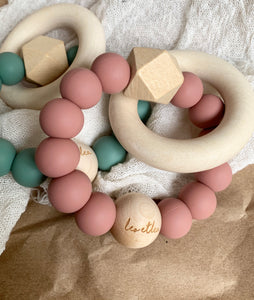 Hexa Baby Teether, Sage, Sunset Collection