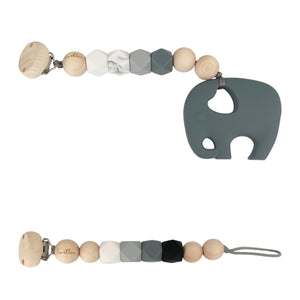 Set, Grey, Pacifier Clip, Teether Elephant