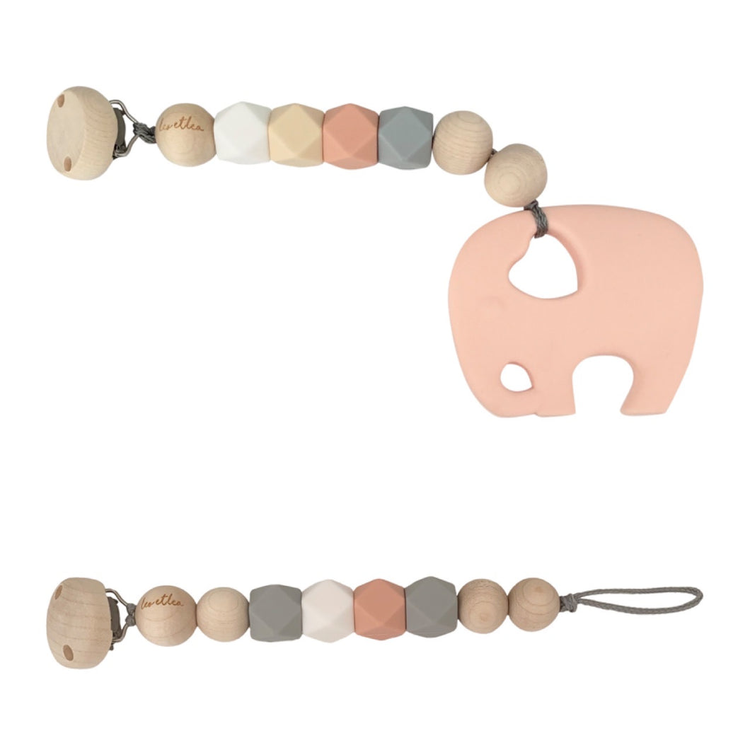 Set, Rose, Pacifier Clip, Teether Elephant