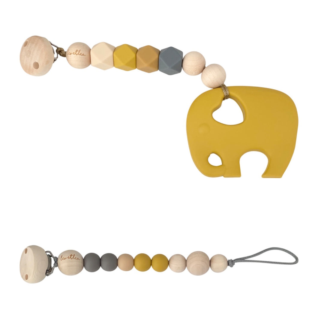 Set, Mustard, Pacifier Clip, Teether Elephant