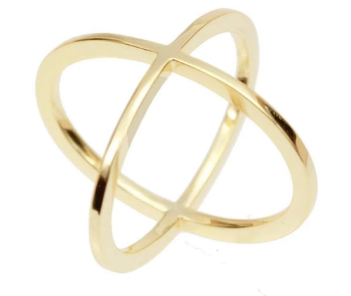 Cross Ring, gold plated, sterling silver