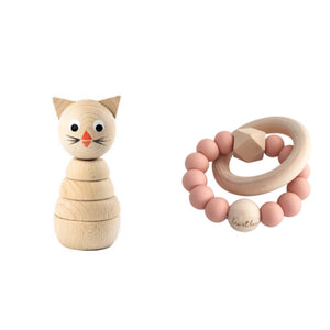 Set Babyshower, Girl, Teether Dusty Rose, Wooden Toy Cat