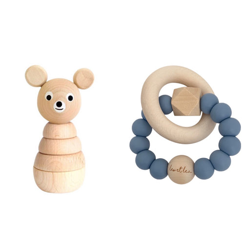 Set Babyshower, Boy, Teether Dusty Blue, Wooden Toy Bear