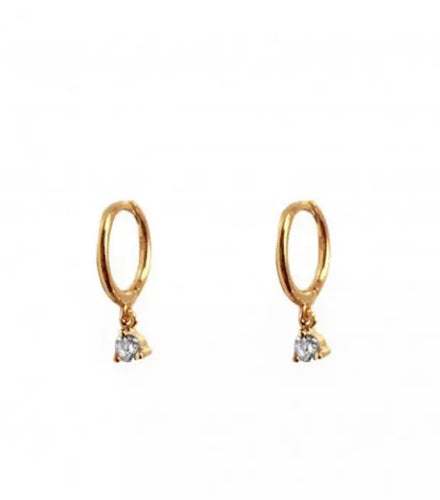 Hoop Earrings 'Crystal', Creolen, Gold