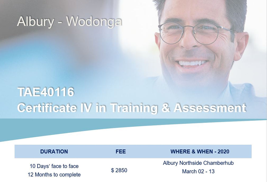 Cert IV TAE40116 Training and Assessment Course Dates 2020