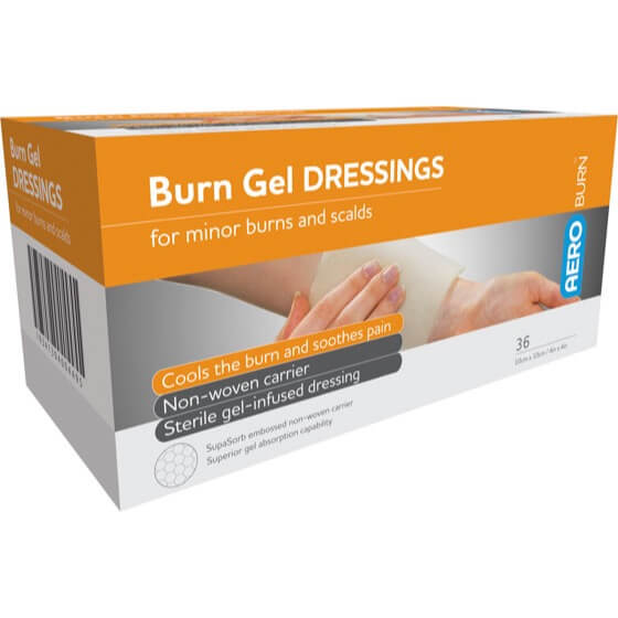 house-of-first-aid,AeroBurn 36 Burn Gel-Infused Dressings 10 cm x 10 cm 10% GST,Aero healthcare,Burn Gel-Infused Dressings