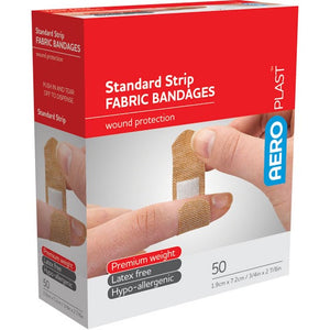 house-of-first-aid,AeroPlast Premium Fabric Bandages – Standard Strip x 50,Aero healthcare,ADHESIVE BANDAGES