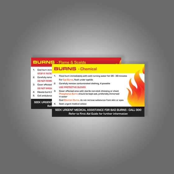 house-of-first-aid,AeroSupplies Burns First Aid Card,Aero healthcare,Burns First Aid Card