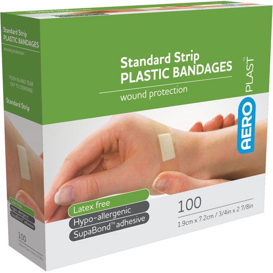 house-of-first-aid,AeroPlast Plastic Bandages – Strips x 100 10% GST,Aero healthcare,ADHESIVE BANDAGES