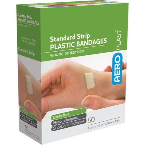 house-of-first-aid,AeroPlast Plastic Bandages – Strips x 50 10% GST,Aero healthcare,ADHESIVE BANDAGES