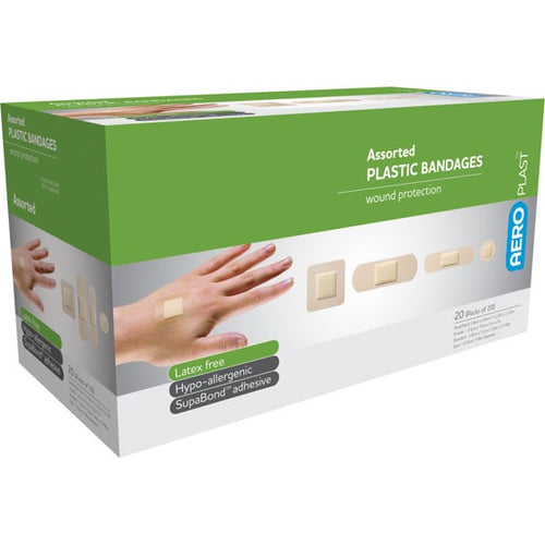 AeroPlast Plastic Bandages 20 Assorted Dressings 10% GST