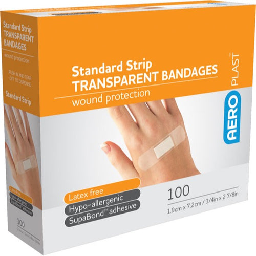 house-of-first-aid,AeroPlast Transparent Bandages –  100 x Strips 10% GST,Aero healthcare,ADHESIVE BANDAGES