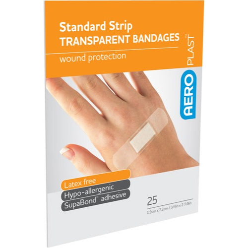 house-of-first-aid,AeroPlast Transparent Bandages – 25 x Strips 10% GST,Aero healthcare,ADHESIVE BANDAGES