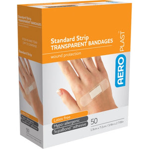 house-of-first-aid,AeroPlast Transparent Bandages – 50 x Strips 10% GSt,Aero healthcare,ADHESIVE BANDAGES