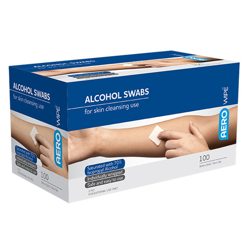 house-of-first-aid,AeroWipe 100 Alcohol Swabs 10% GST,Aero healthcare,Alcohol Swabs
