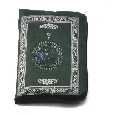 muslim-spirit - Polyester Prayer Mat with Compass - Hajj & Umrah Essentials