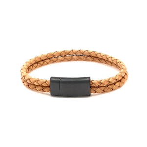 Leather bracelet with two bolo cords and a black metal clasp