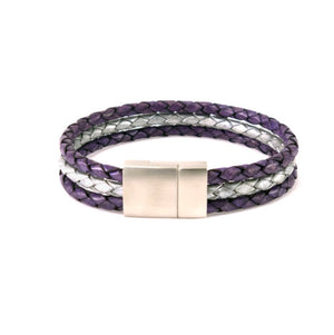 Leather bracelet from three bolo cords in purple and silver with a stainless steel  clasp