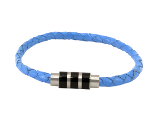 Autism Awareness leather bracelet from blue bolo cord  and stainless  steel clasp