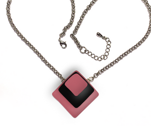 Diamond Shaped Necklace with black glass between pink glass for breast cancer awareness