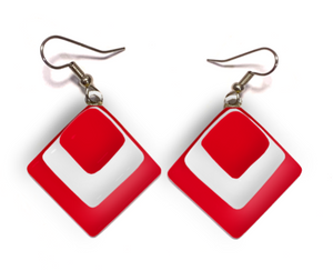 Dangle Earrings in diamond shape with red and white colors for Canada