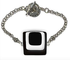 Womens bracelet with 3 layered squares of black and white