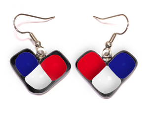 Dangle earrings with red white and blue wing shape for France