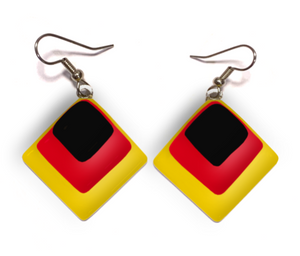Diamond shape womens earrings with black red and yellow