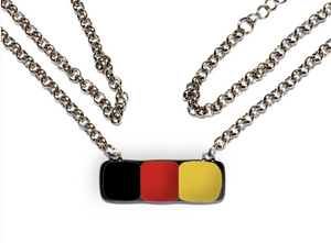 Womens necklace of bar shape in black red and yellow
