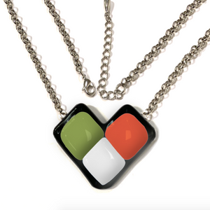 Womens necklace with green white and red wing shape
