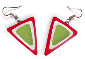 Dangle earrings with layers of red white and green layers