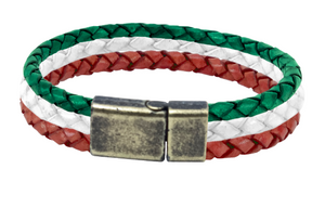 Leather bracelet with green white and red bolo cords in a brass clasp